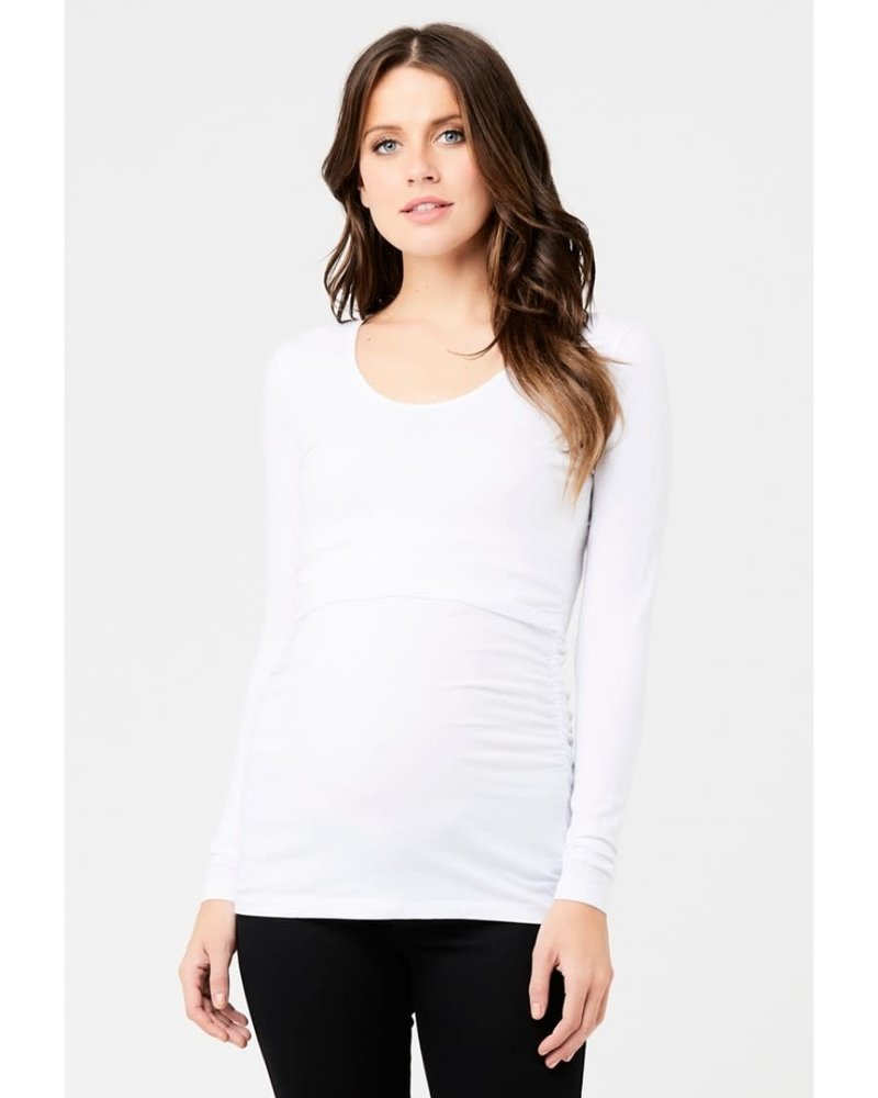 Ripe Ripe Maternity White 'Ali' Up/Down Long Sleeve Nursing Tee