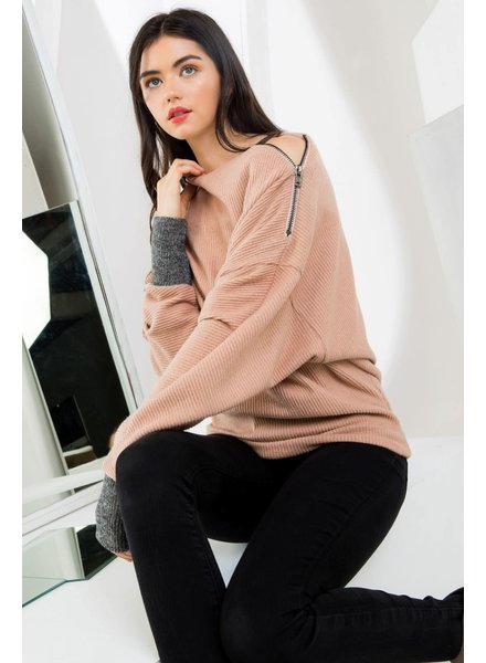 THML 'You're Making Me Blush' Zip Sweater