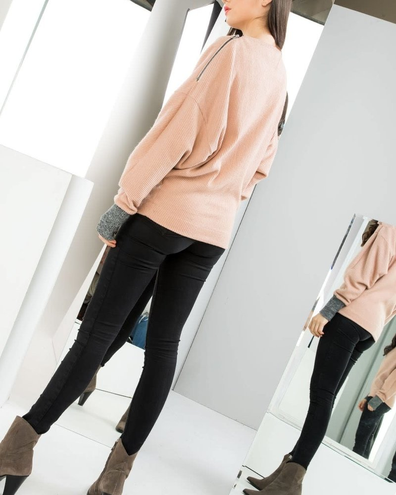 THML THML 'You're Making Me Blush' Zip Sweater