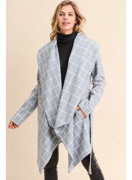 Doe & Rae 'Damion' Windowpane Shawl Coat