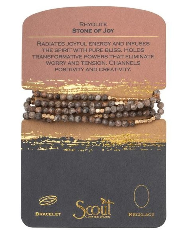 Scout Curated Wears Scout Rhyolite & Gold Stone Wrap Bracelet/Necklace