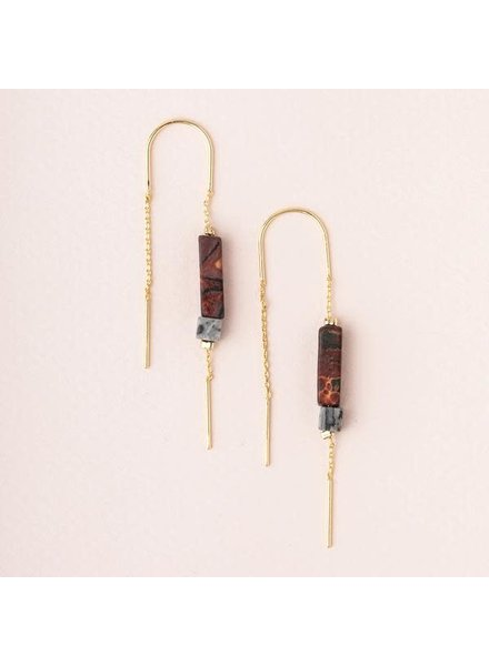 Scout Curated Wears Majestic Jasper & Gold Rectangle Stone Thread Earrings