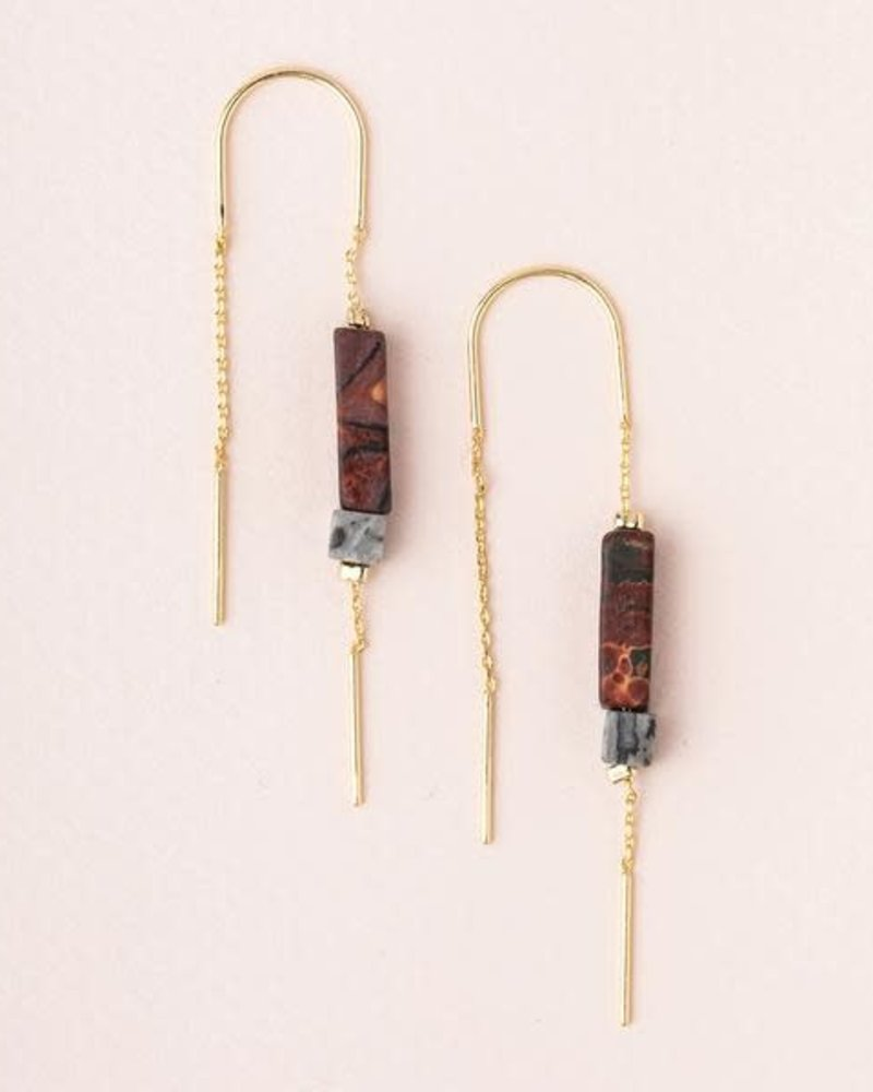 Scout Curated Wears Scout Majestic Jasper & Gold Rectangle Stone Thread Earrings