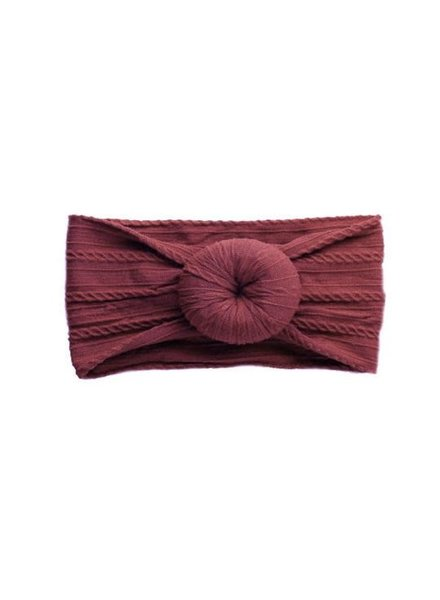 Emerson & Friends Burgundy Cable Knit Bun Baby Headband