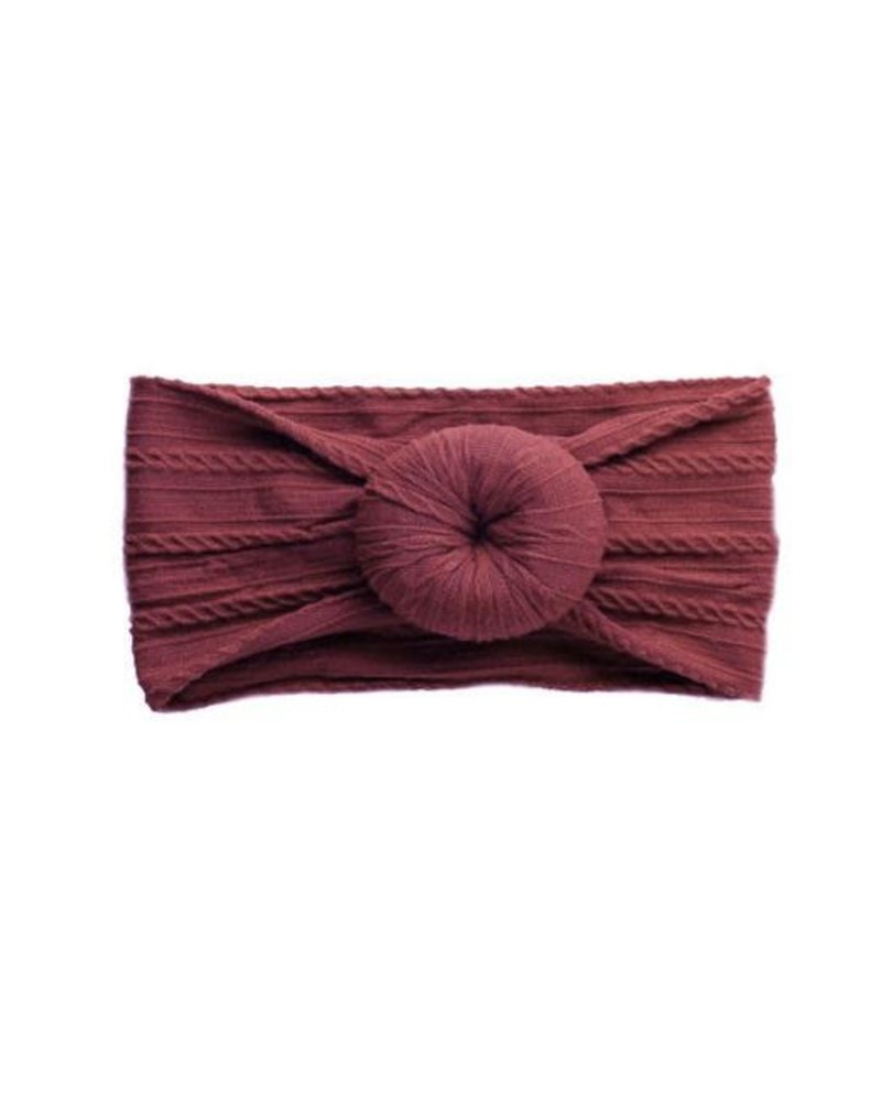 Emerson & Friends Emerson & Friends Burgundy Cable Knit Bun Baby Headband