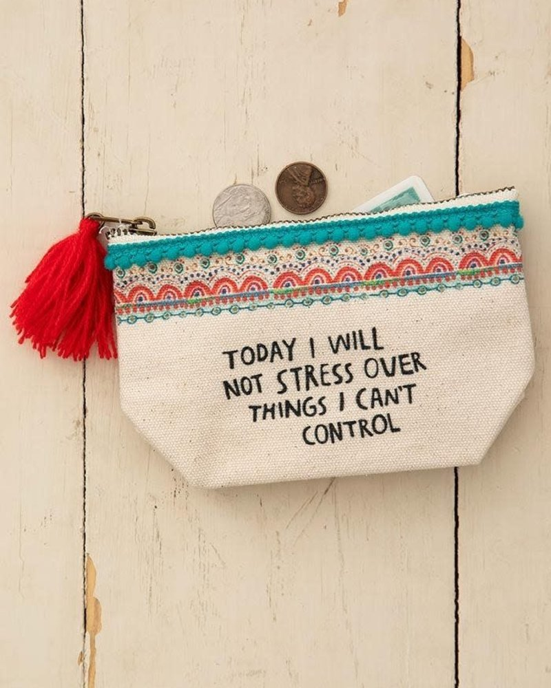 Natural Life Natural Life 'I Will Not Stress' Mini Canvas Pouch