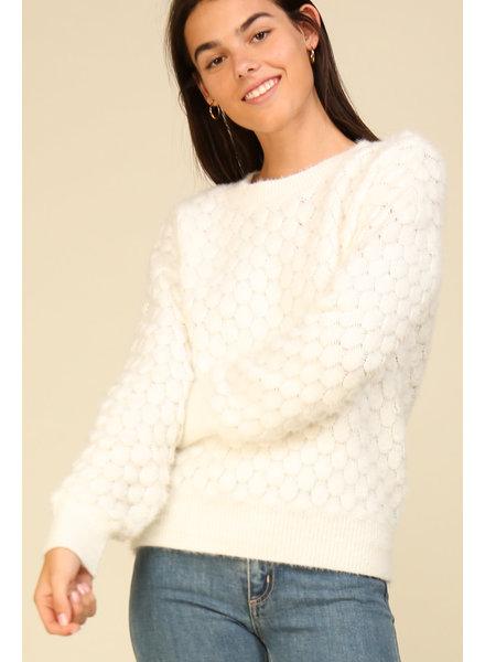 Lumiere Fashion 'Ivory Cloud' Jacquard Knit Sweater