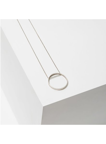 Larissa Loden Large Silver 'Horizon' Circle Necklace
