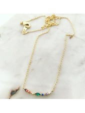 Must Have Rainbow Studded Curve Dainty Necklace