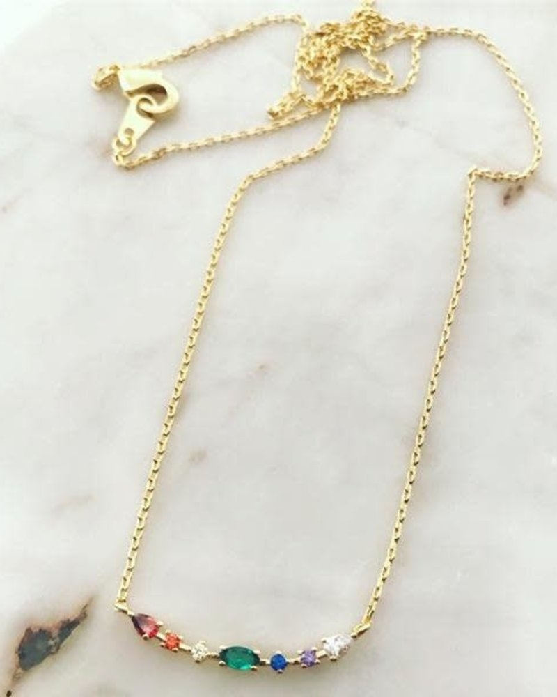 Must Have Must Have Dainty Necklace | Rainbow Studded Curve