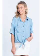 Everly 'It's a Tie' Chambray Top