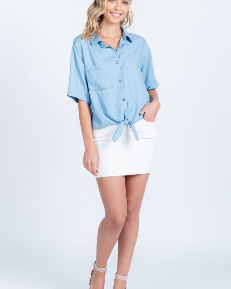 Everly Everly 'It's a Tie' Chambray Top