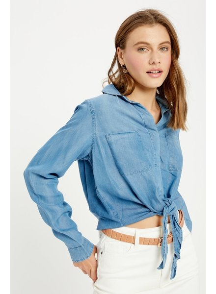 Wishlist 'Tie It to the Front' Button Up Top (Small) **FINAL SALE**