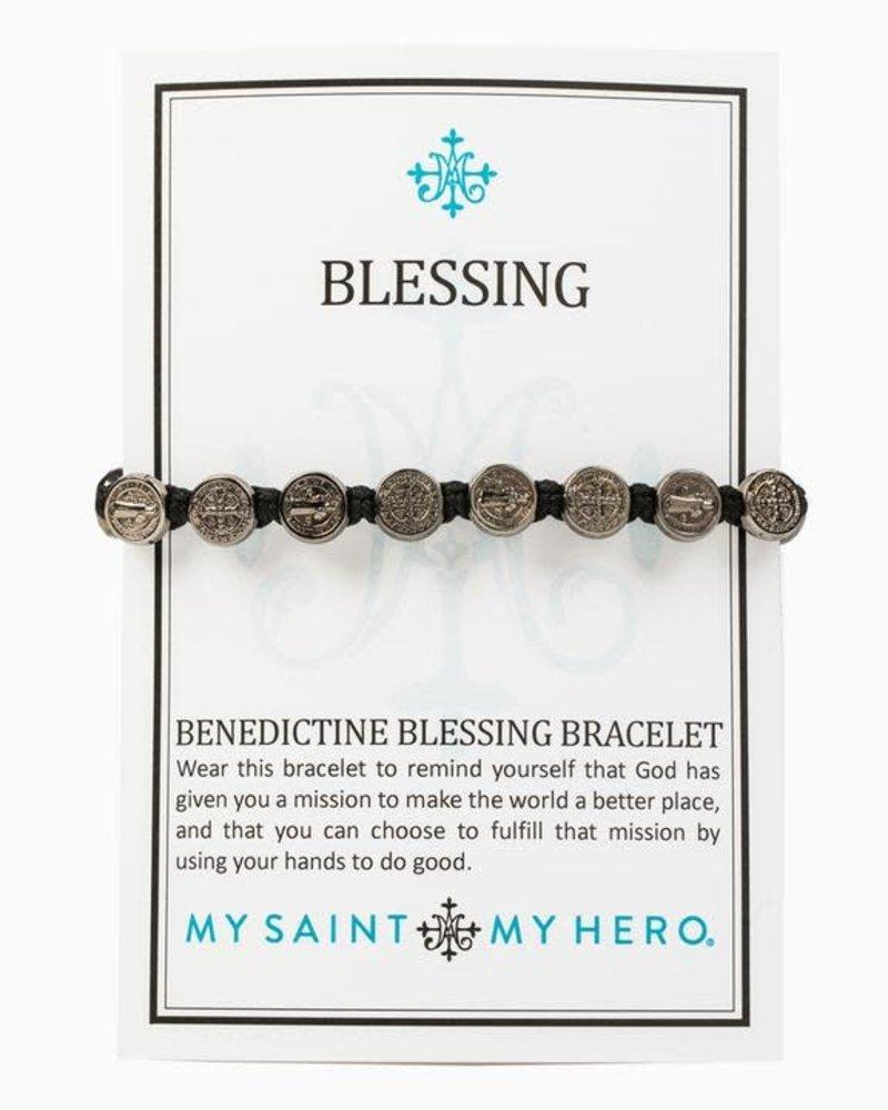 My Saint My Hero My Saint My Hero Benedictine Blessing Bracelet in Jet Black