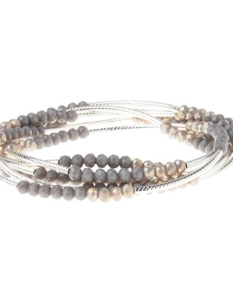 Scout Curated Wears Scout Dove Gray Multi & Silver Original Wrap Bracelet/Necklace
