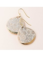 Scout Curated Wears Fossil Coral Stone Dipped Teardrop Earrings