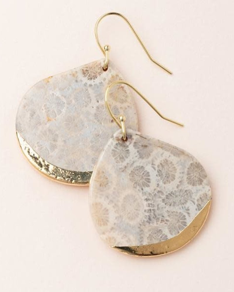 Scout Curated Wears Scout Fossil Coral & Gold Stone Dipped Teardrop Earrings
