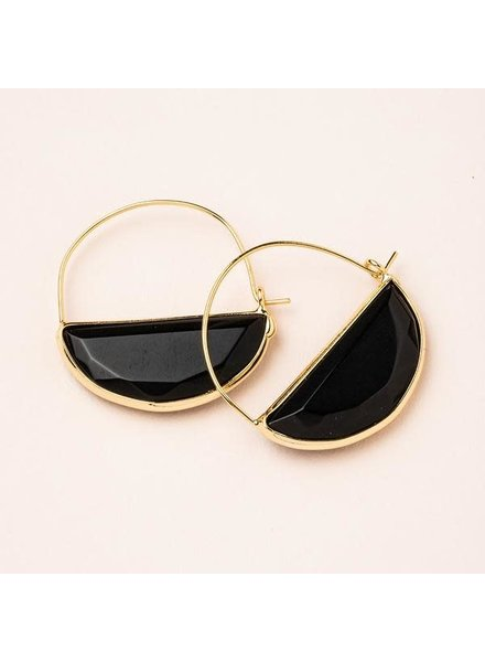 Scout Curated Wears Black Spinel & Gold Stone Prism Hoop Earrings