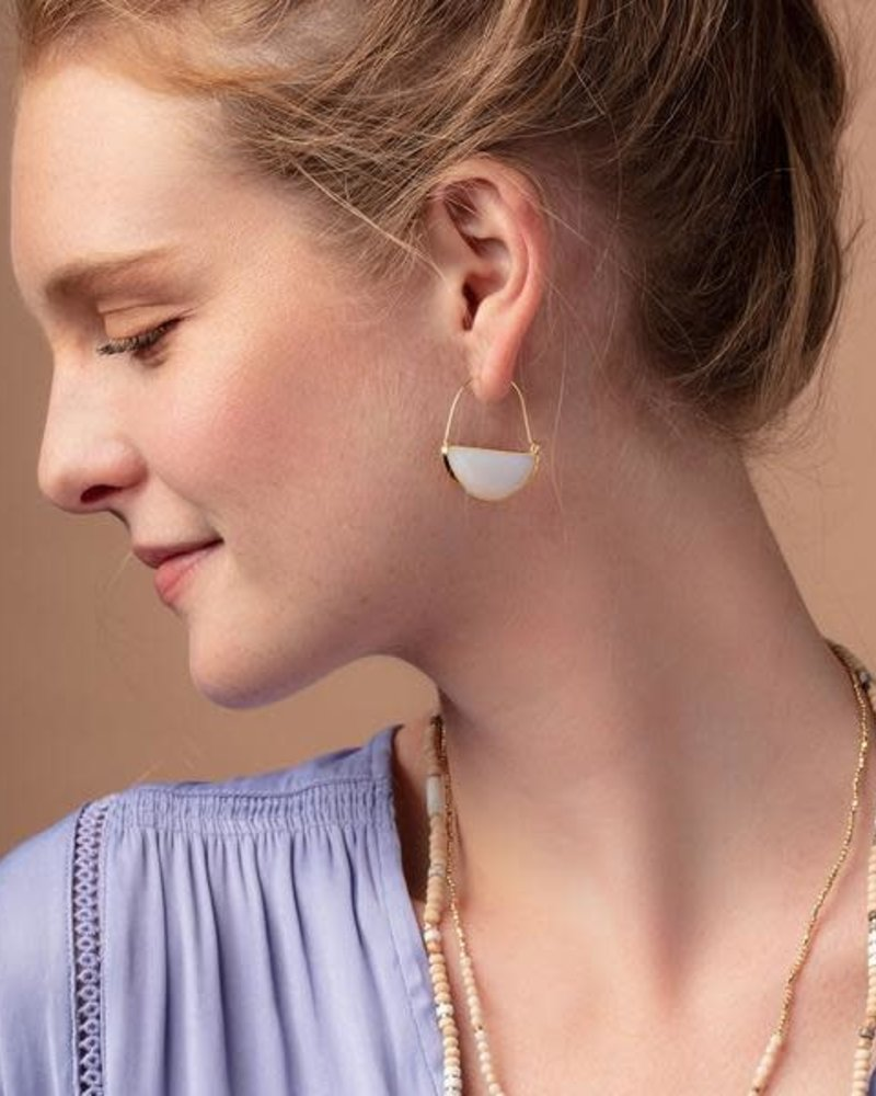Scout Curated Wears Scout Opalite & Silver Stone Prism Hoop Earrings