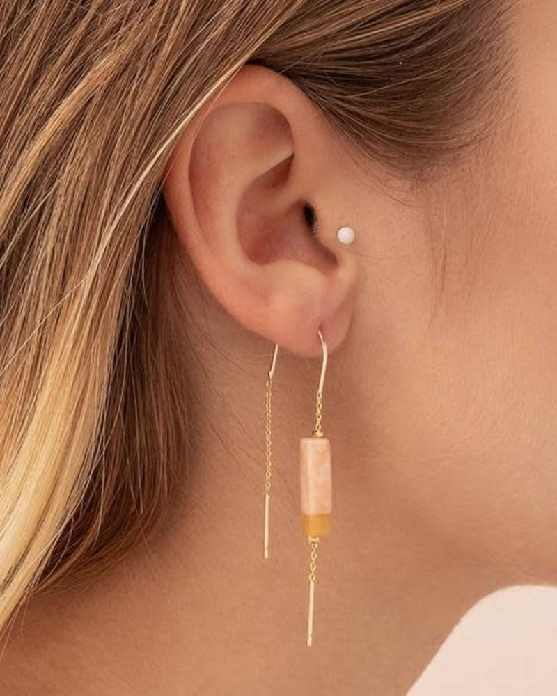 Scout Curated Wears Scout  Rose Quartz/Amber & Gold Rectangle Stone Thread Earrings