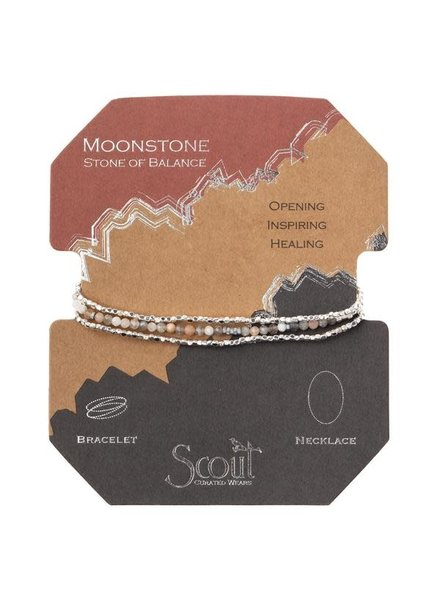 Scout Curated Wears Moonstone & Silver Delicate Stone Wrap Bracelet/Necklace