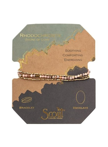 Scout Curated Wears Rhodochrosite & Gold Delicate Stone Wrap Bracelet/Necklace