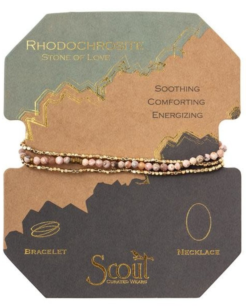 Scout Curated Wears Scout Rhodochrosite & Gold Delicate Stone Wrap Bracelet/Necklace