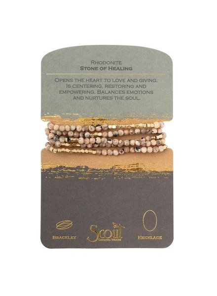 Scout Curated Wears Rhodonite Stone Wrap Bracelet/Necklace