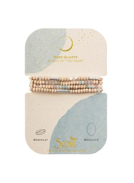Scout Curated Wears Wood Stone & Metal Wrap Bracelet/Necklace in Rose Quartz