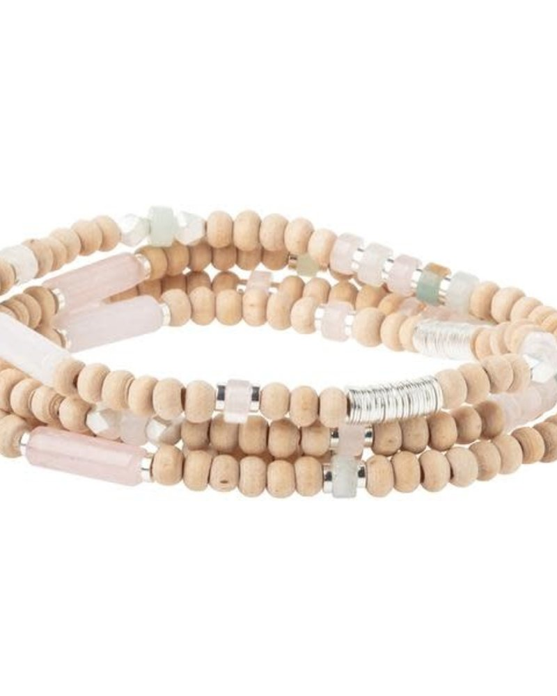 Scout Curated Wears Scout Wood Stone & Metal Wrap Bracelet/Necklace in Rose Quartz