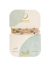 Scout Curated Wears Wood Stone & Metal Wrap Bracelet/Necklace in Labradorite