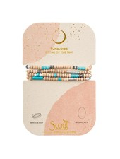 Scout Curated Wears Wood Stone & Metal Wrap Bracelet/Necklace in Turquoise