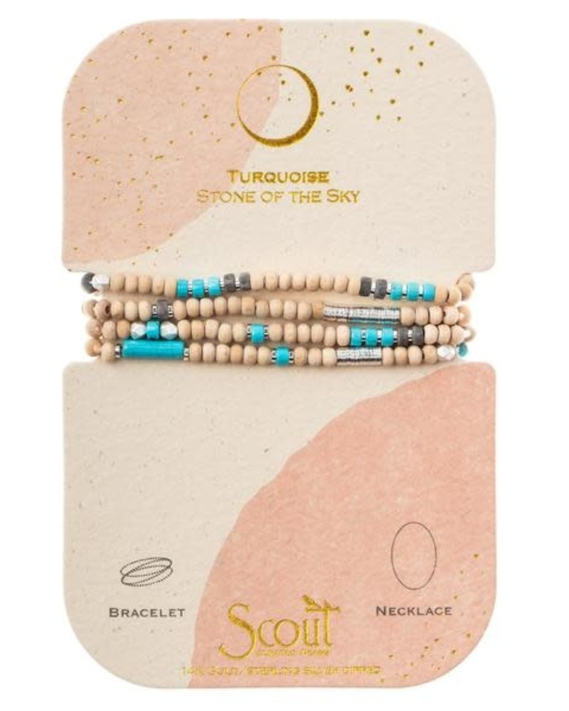 Scout Curated Wears Scout Wood Stone & Metal Wrap Bracelet/Necklace in Turquoise