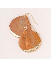 Scout Curated Wears Petrified Wood Stone Dipped Teardrop Earrings