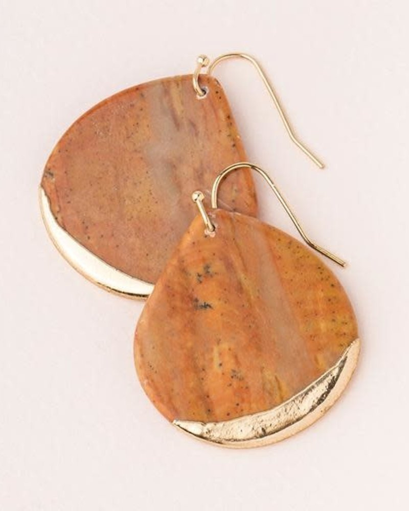 Scout Curated Wears Scout Petrified Wood Stone Dipped Teardrop Earrings