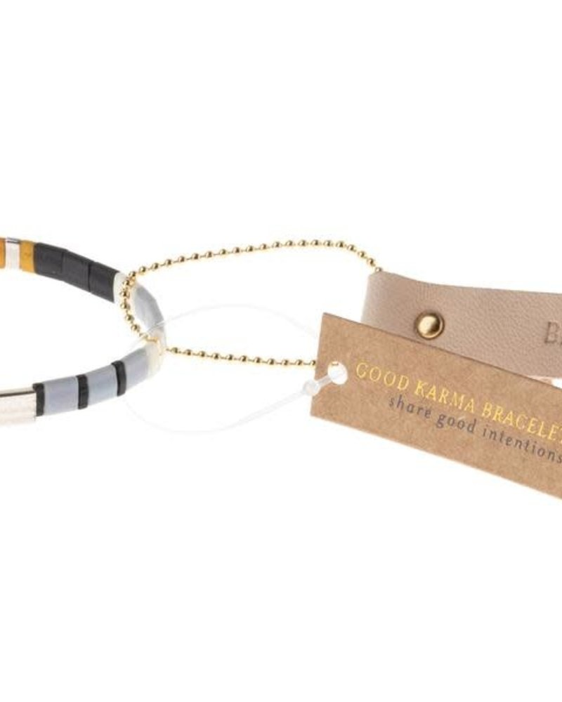Scout Curated Wears Scout Good Karma Miyuki Bracelet - Brave in Grey & Black/Silver