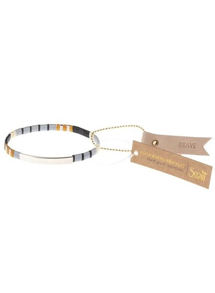 Scout Curated Wears Good Karma Miyuki Bracelet - Brave in Grey & Black/Silver