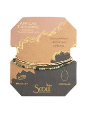 Scout Curated Wears African Turquoise & Gold Delicate Stone Wrap Bracelet/Necklace