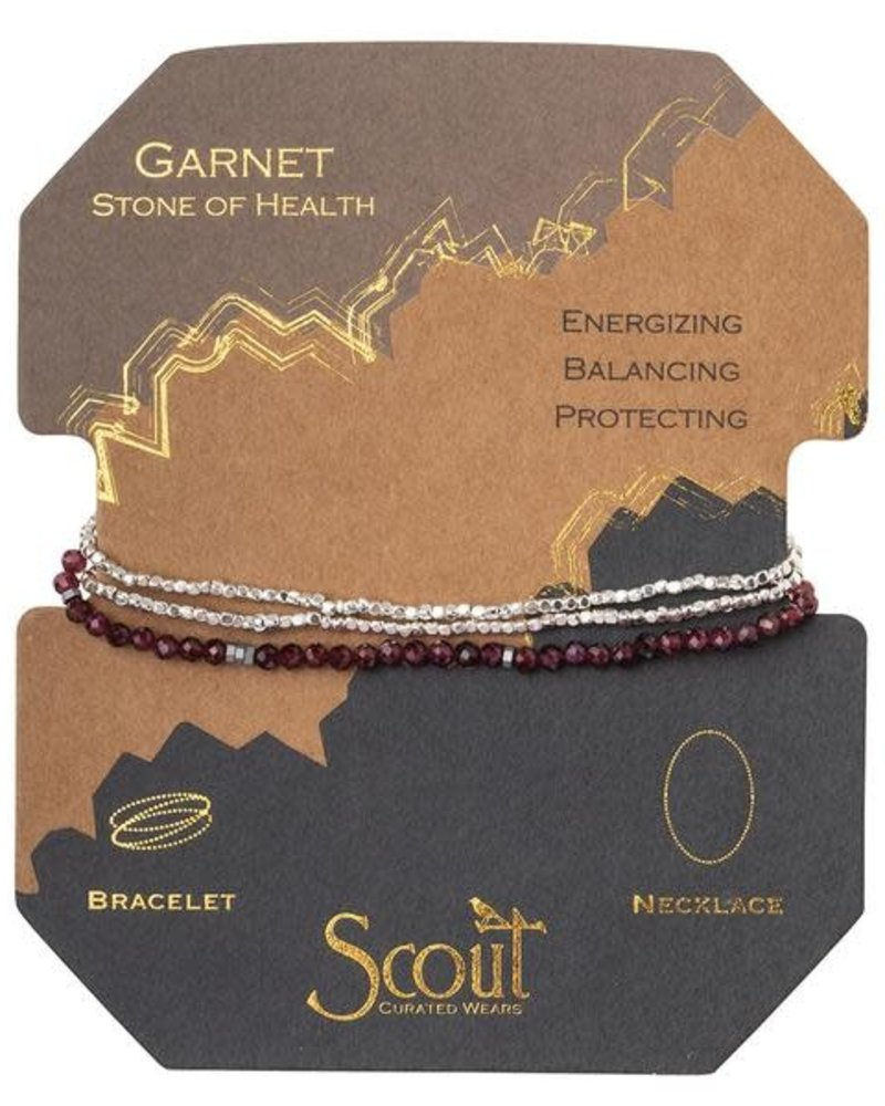 Scout Curated Wears Scout Garnet & Silver Delicate Stone Wrap Bracelet/Necklace