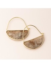 Scout Curated Wears Fossil Coral & Gold Stone Prism Hoop Earrings