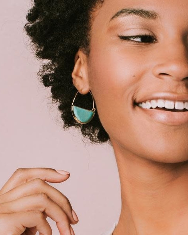 Scout Curated Wears Scout Fossil Coral & Gold Stone Prism Hoop Earrings