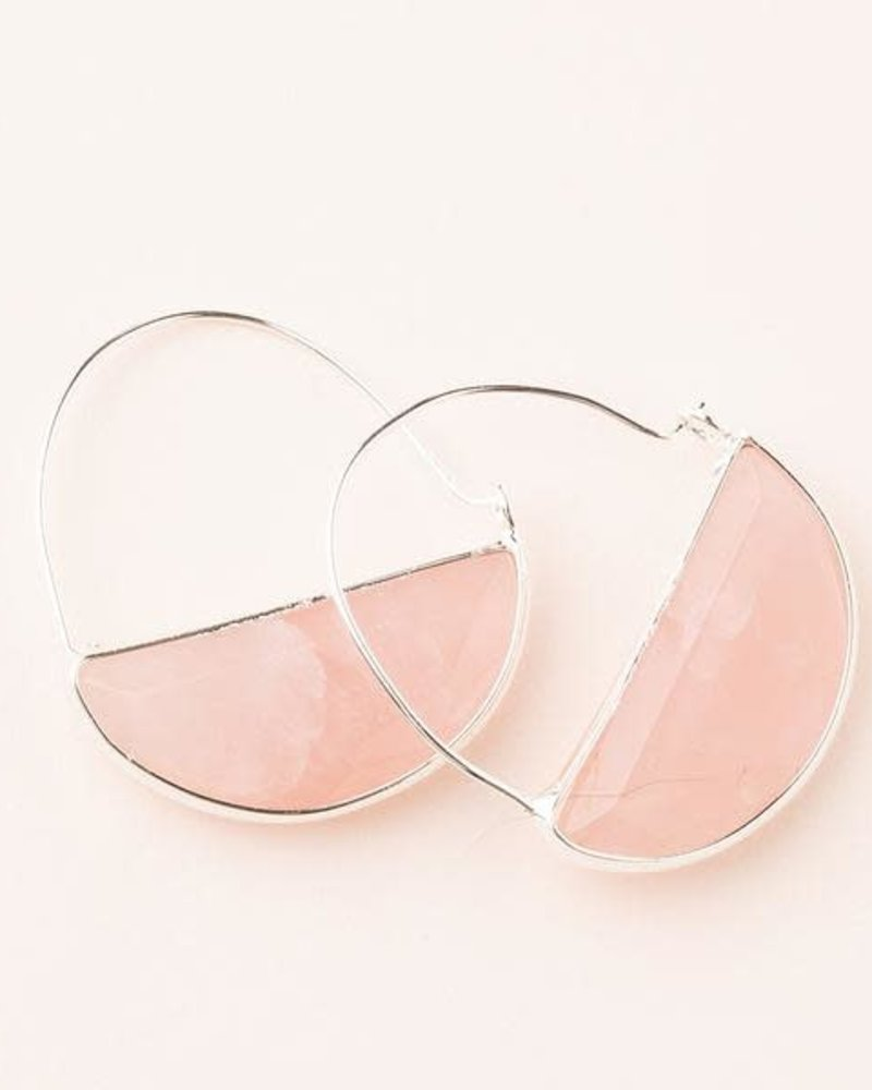 Scout Curated Wears Scout Rose Quartz & Silver Stone Prism Hoop Earrings