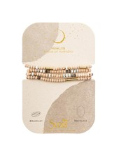 Scout Curated Wears Wood Stone & Metal Wrap Bracelet/Necklace in Howlite