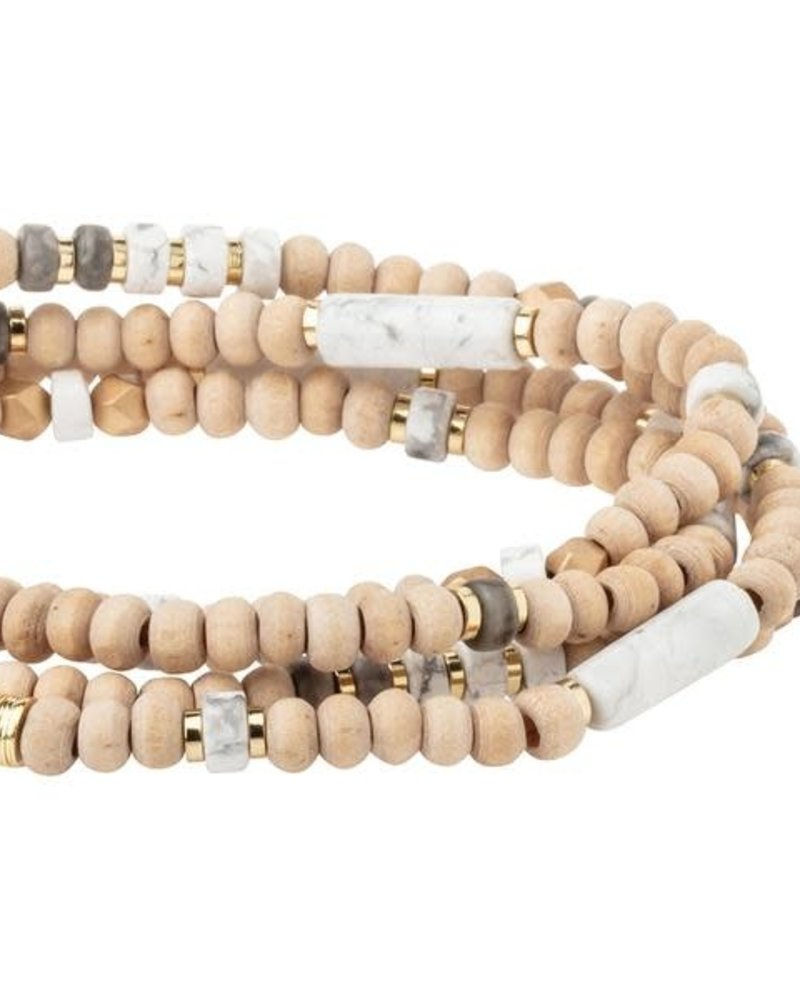 Scout Curated Wears Scout Wood Stone & Metal Wrap Bracelet/Necklace in Howlite