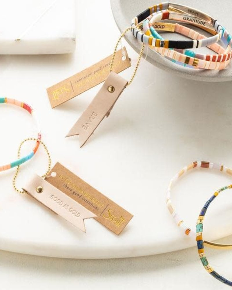 Scout Curated Wears Scout Good Karma Miyuki Bracelet - Gratitude in Turquoise & Orange/Silver