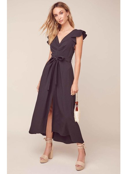 ASTR 'Euphoria' Ruffle Sleeve Midi Dress
