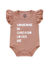 Emerson & Friends Flutter Sleeve Dusty Rose 'Someone in Chicago' Onesie