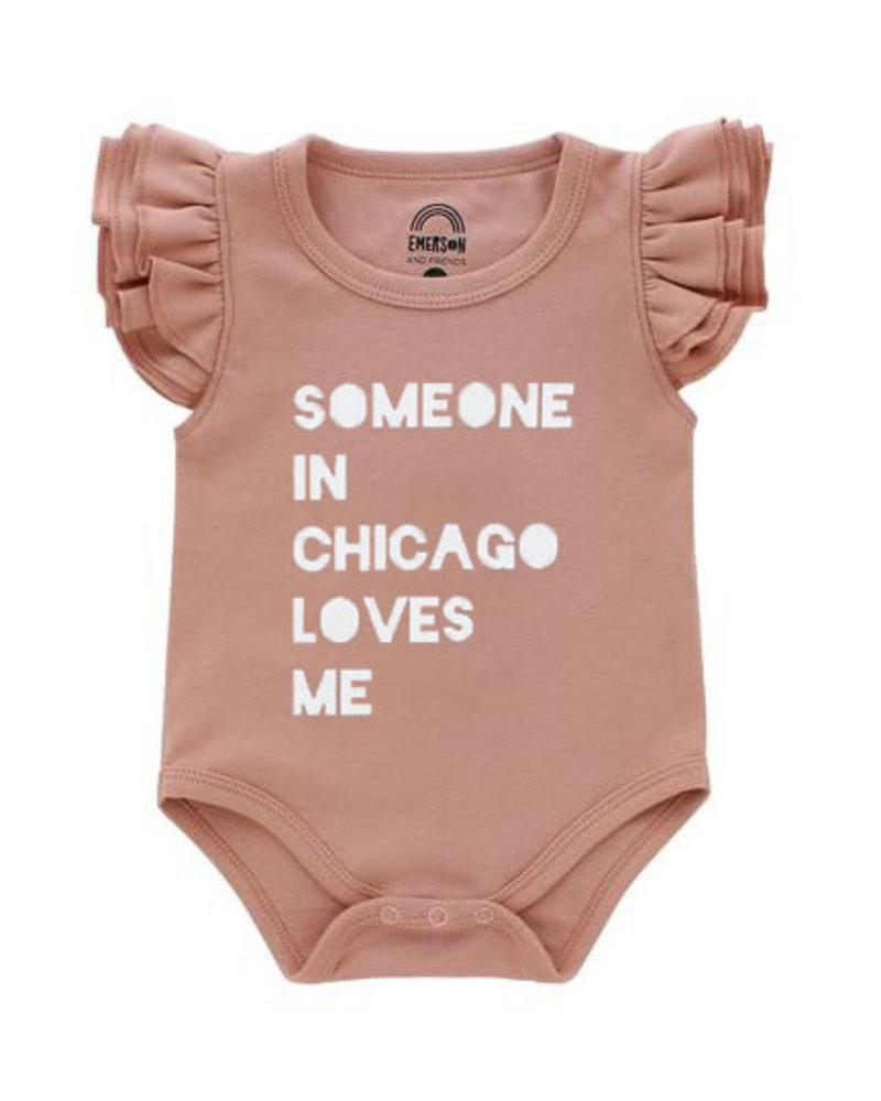 Emerson & Friends Emerson & Friends Flutter Sleeve Dusty Rose 'Someone in Chicago' Onesie
