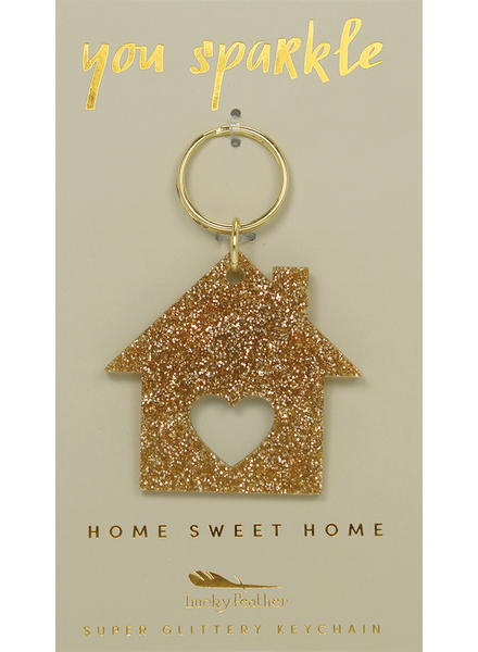 Lucky Feather Glitter Home Keychain