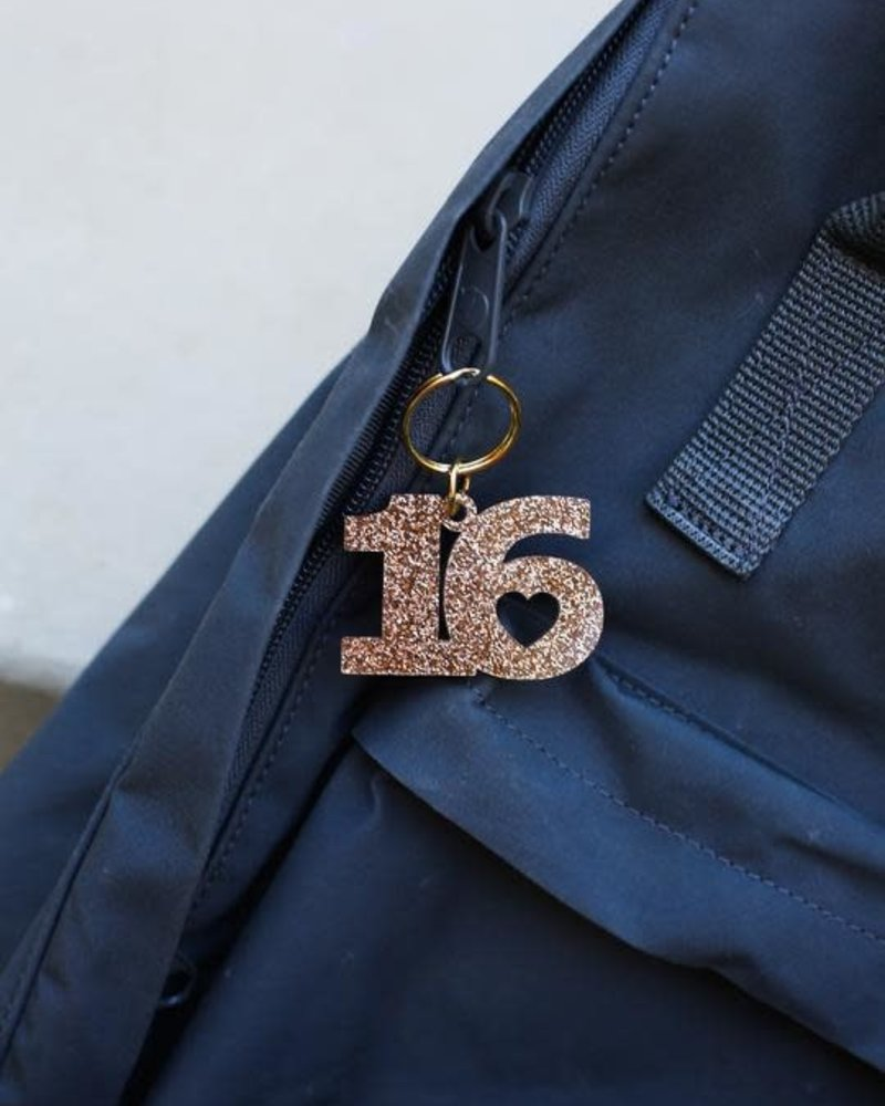 Lucky Feather Lucky Feather Glitter Sweet 16 Keychain